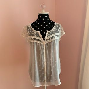 A&F Sheer Lace Trimmed Top